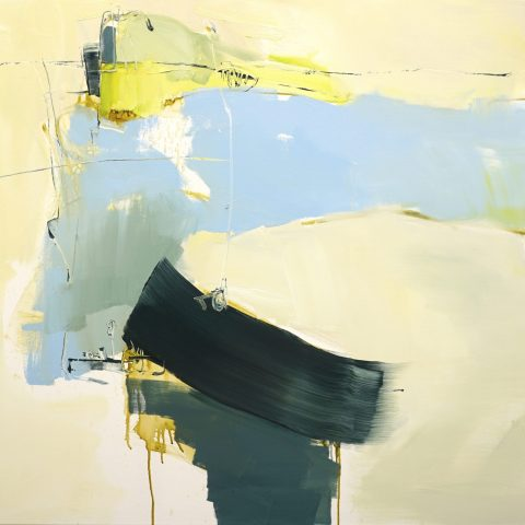 Evocative abstract painting in light brown, dark green, blue, yellow