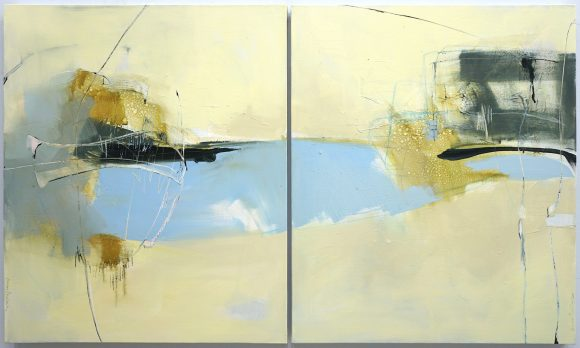 Evocative abstract painting on 2 panels in light brown, dark blue, grey, green-brown