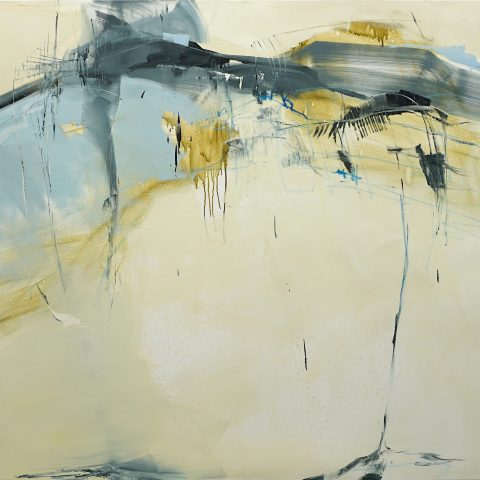 Evocative abstract painting in light brown, dark blue, grey, green-yellow