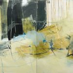 Evocative abstract XL painting in light brown, dark green, blue, yellow