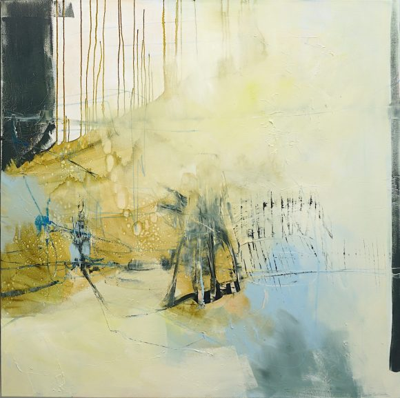 RH panel of evocative abstract XL painting in light brown, dark green, blue, yellow