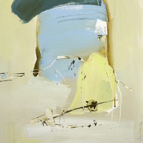 Evocative abstract painting in light brown, blues and primrose yellow
